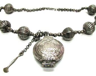 Antique Sri Lanka Necklace, India Necklace, Killotaya, Lime Box (Betel Nut) Pendant, Harar Tribe Ethiopian Silver Lac Beads, 57 cm, 230Grams