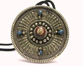 Tibetan Pendant, Tibetan Hair Bead Ornament, Himalayan Pendant, Himalayan Necklace, Coral, Turquoise, Filigree, Mixed Metal Alloy, 83 Grams