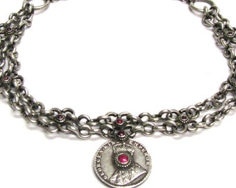 """Antique India Necklace, British India Rupee Necklace, Antique India Necklace, Rupaya Har Necklace, 48cm (19"""") Chain, 107.86 Grams (3.70oz)"""