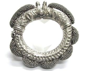 Antique Indian Bracelet, Antique Rajasthan Bracelet, Makara Heads Bracelet, Gajre Balls, India Silver Bracelet, High Grade Silver, 201 Grams