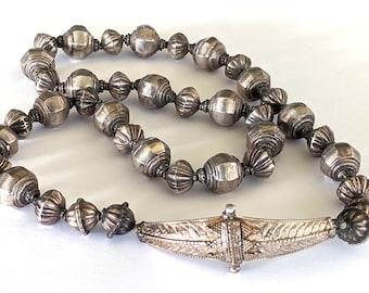 "Antique Sri Lanka Silver Necklace, Sri Lankan Mugappu Side Pendant Necklace, 39 High Grade Silver Beads, 74 cm (29""), 78.9 Grams"