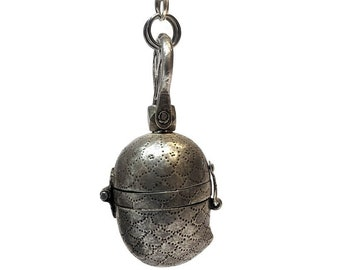 Antique Mango Shape Lime Paste and Betel Nut Container, High Grade Silver Betel Nut Box, Weight, 27.5 Grams, Northern India - RARE