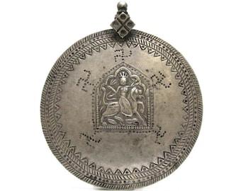Antique Indian Amulet, Indian Hindu Amulet, Goddess Durga Pendant, Rajasthan Amulet, High Grade Silver, 81.3 Grams, LARGE