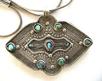 "Antique India Pendant, Himachal Pradesh Pendant, Himachal Pradesh Cloak Clasp, Fibula, 46cm (18""), 3mm High Grade Silver Snake Chain, 67 Gms"