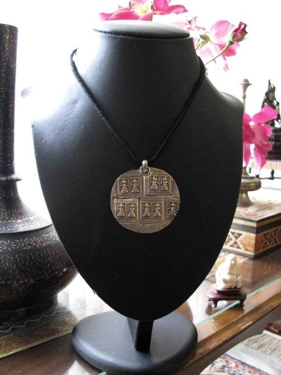Rajasthani handmade-silver Amulet-Collectible-Vintage-Ethnic-Tribal-Antique Shop NJB#4 Antique silver goddess Pendant-Indian Goddess Durga