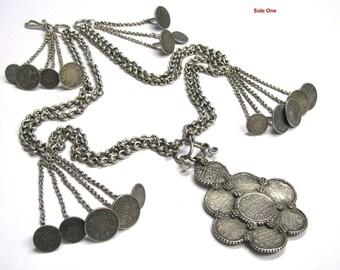 "British India Rupee Necklace, Antique India Necklace, Half Rupee Coins, Rupaya Har Necklace, Silver Chain, 89cm (35""), 516 Grams (18.20oz.)"