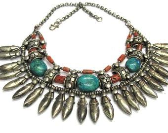 "Ladakh Necklace, Old Heirloom Ladakh Beads, Ladakh Collar, Ladakhi Necklace, Himalayan Necklace, Old Ladakh, 48cm (18""), 185 Grams (6.5oz.)"