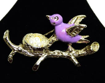 Repair, Purple Bird Nest Brooch, Bird on a Branch, Three Eggs in Birds Nest, Lavender Purple  Enamel , Signed Gerrys, Vintage 1950's
