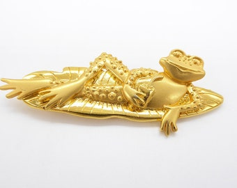 Vintage Brooch,Frog on Lily Pad by Jonette Jewelry,JJ,Costume Jewelry,Collectible,Keepsake,Gift Ideas FREE Shipping