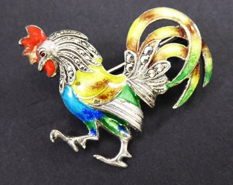 Nice Old Vtg Sterling Silver Decorative Colorful Rooster Design Pin Brooch Jewelry Fine Pins & Brooches Fine Jewelry