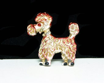 Vintage Poodle Brooch - Enamel Puppy Dog with Curly Hair, Rhinestone Collar - Bright Sparkling Eyes - Red Goldtone and White -  Mid Century