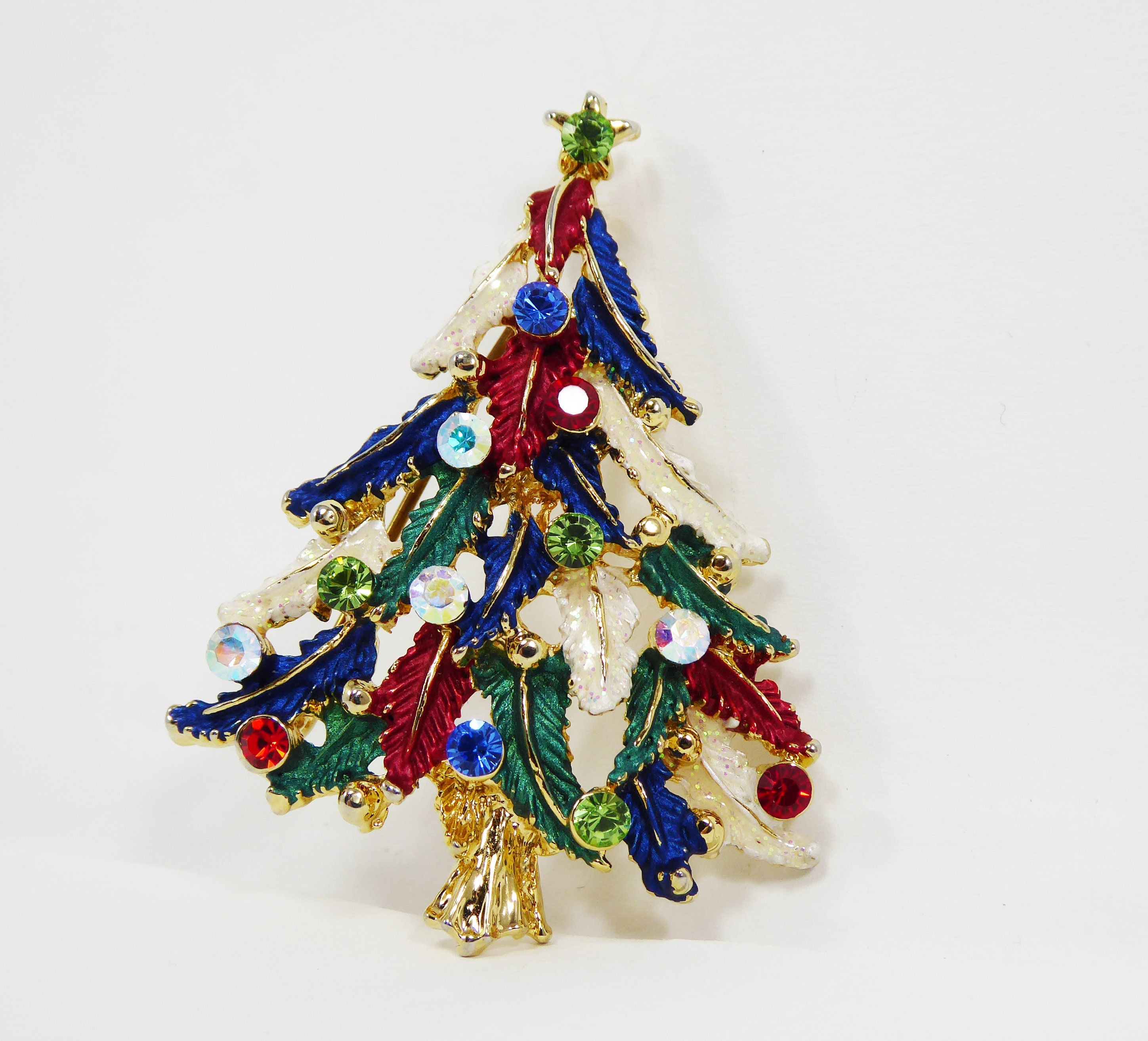 Patriotic Christmas Tree.Patriotic Christmas Tree Brooch With Red White Blue