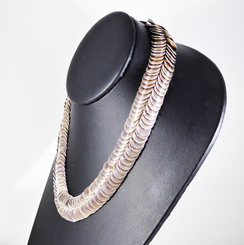 Art Deco Sterling Silver Necklace Double Row Round Link 925 Spiral Links 16 inch Choker Length Modernist Mid Century Vintage 1940s 1960s