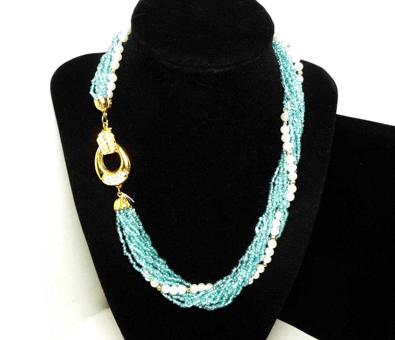 2b8c57bcf407f Blue & Pearl Bead Torsade Necklace - Multi Strand Vintage ...