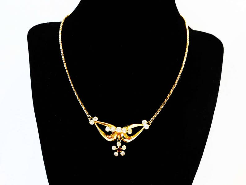 Clear /& Red Rhinestones Dangling Flower Vintage Mid Century 1940s 1950s Van Dell Signed 12KT Gold Filled Rhinestone Choker Necklace