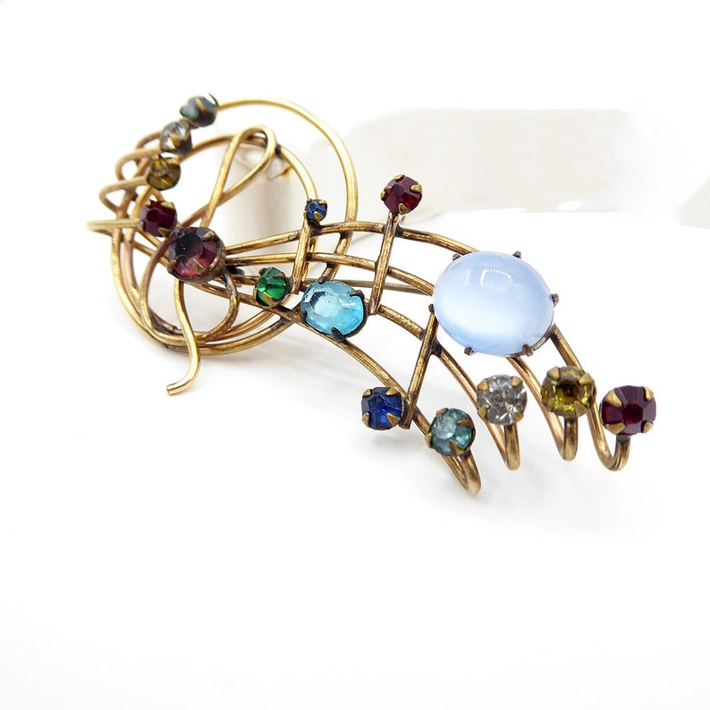 120 12K Gold Filled Musical Notes Brooch with Multi Colored Rhinestones Signed M/&S Vintage 1950s