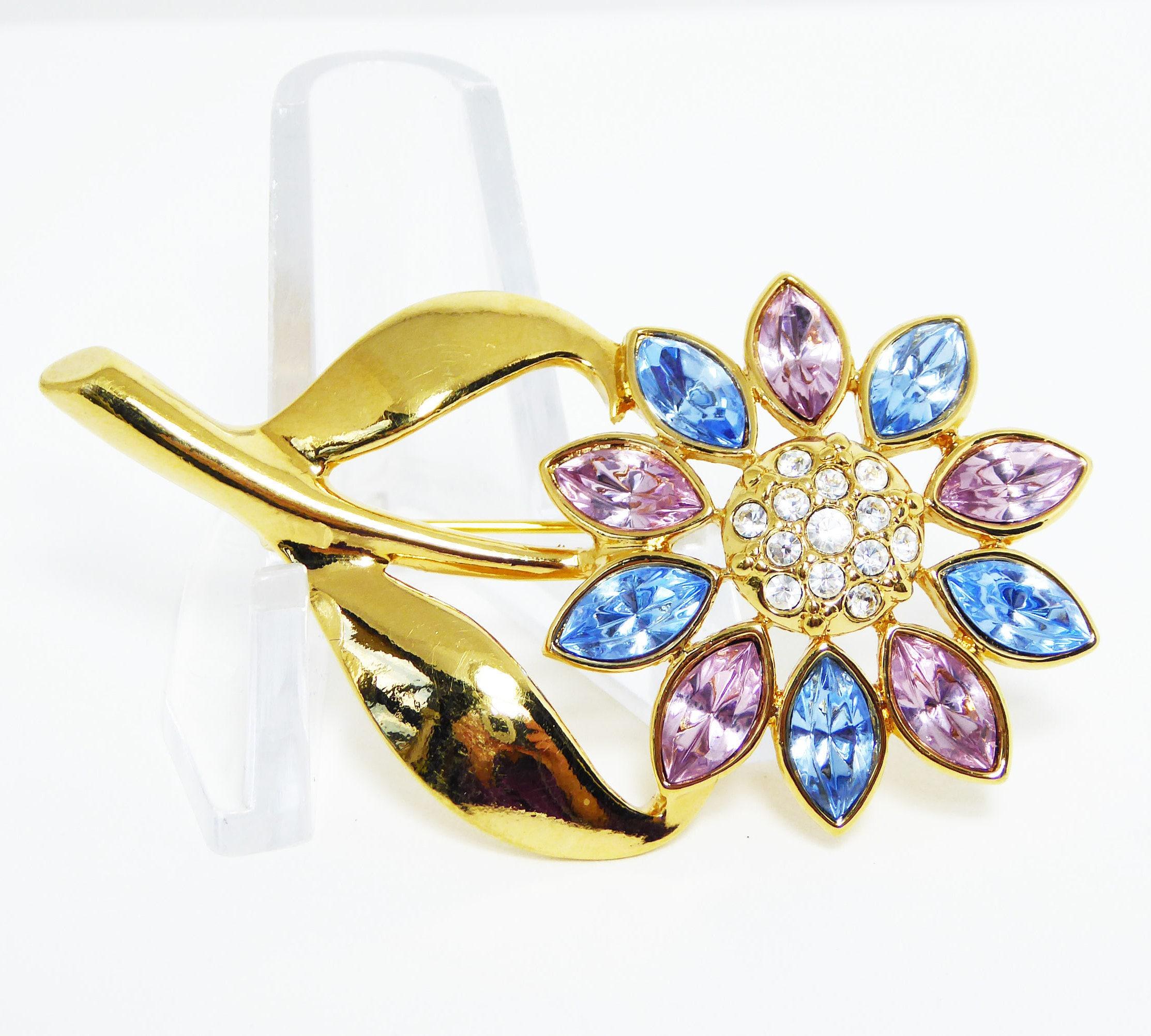 Blue   Pink Rhinestone Flower Pin - Gold Tone Long Stem and Leaves 51e1214191f9