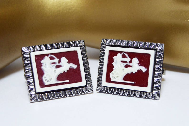 Vintage 1980s 1990s for Men White Horse Chariot Rust Brown Greek Soldier Intaglio Cameo Style Cuff Links Retangle Shaped Silver Tone