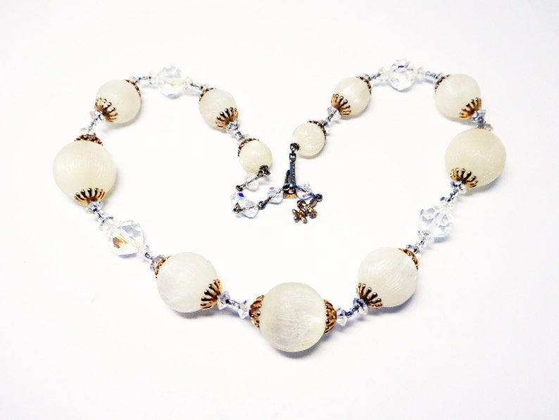 Graduated Beaded Signed Vendome Vintage 1950s Mid Century Choker Length Textured Moon Glow Lucite Bead Necklace w Faceted Crystal Beads