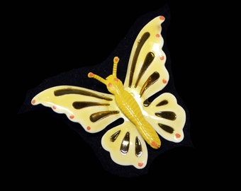 Vintage Butterfly Brooch - Yellow Enamel Flying Insect - Sunshine Gold Tone with Red Orange Dots - Mod Era 1960's 1970's Butterflies