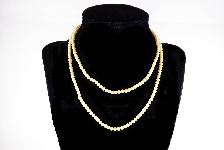 232996ed058e2 Pearlescent White Beads Signed Trifari, 29 inches long, Classic Faux ...