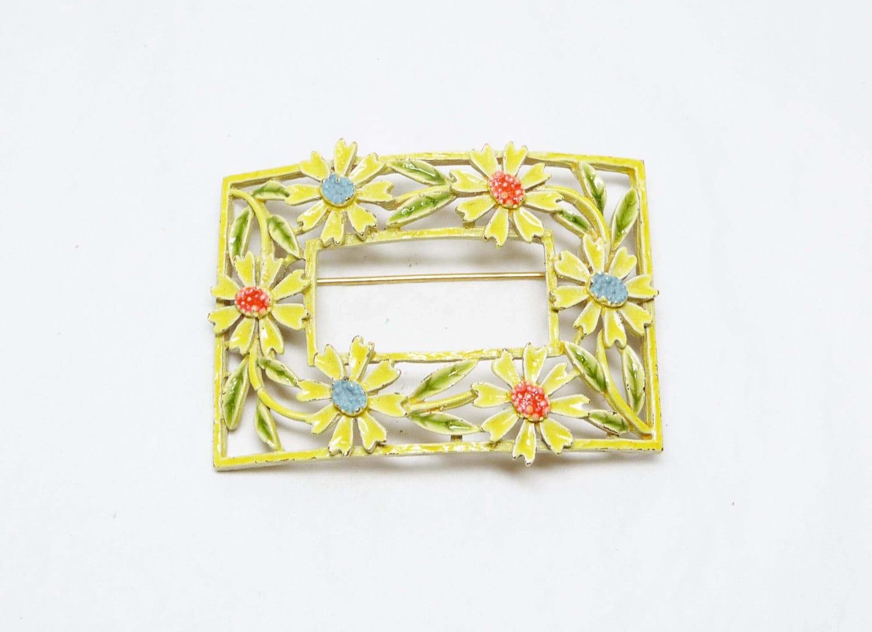 Yellow Flower Brooch Daisy Framed Rectangle Pin Vintage Designer