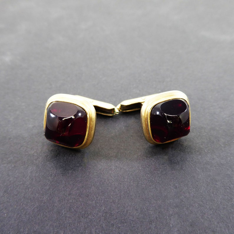 Signed Hadley Red Glass Art Deco Cuff Links in Gold Filled Settings Vintage 1940s 1950s Square Design with Red Domed Cabochons Mens Jewelry