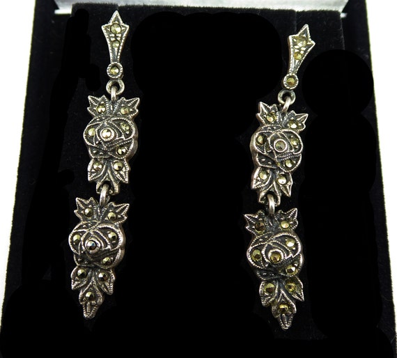 85bcf5ed7 Signed Judith Jack Sterling Silver & Marcsites Post Earrings   Etsy