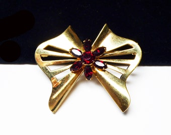 Butterfly Bow Brooch - Ruby Red Rhinestone Flower - Gold Tone Bow - Vintage 1950's - 1960's - Mid Century Modern Design