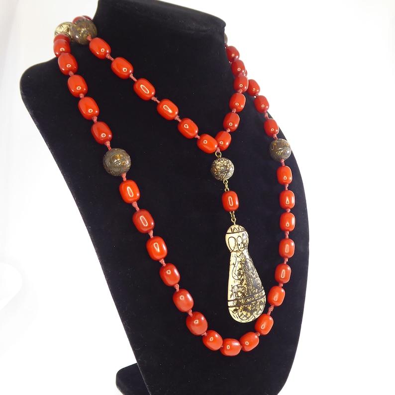 Unique Carnelian /& Bone Hand Knotted Rope Length Beaded Necklace w Large Tear Drop Pendant Vintage 1970s 1980s BOHO Hippie Festival Jewelry