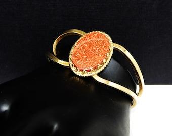 Goldstone Hinged Cuff Bracelet - Hinged Bangle Bracelet - Oval Goldstone - Mid Century Modern 1950's Vintage Jewelry