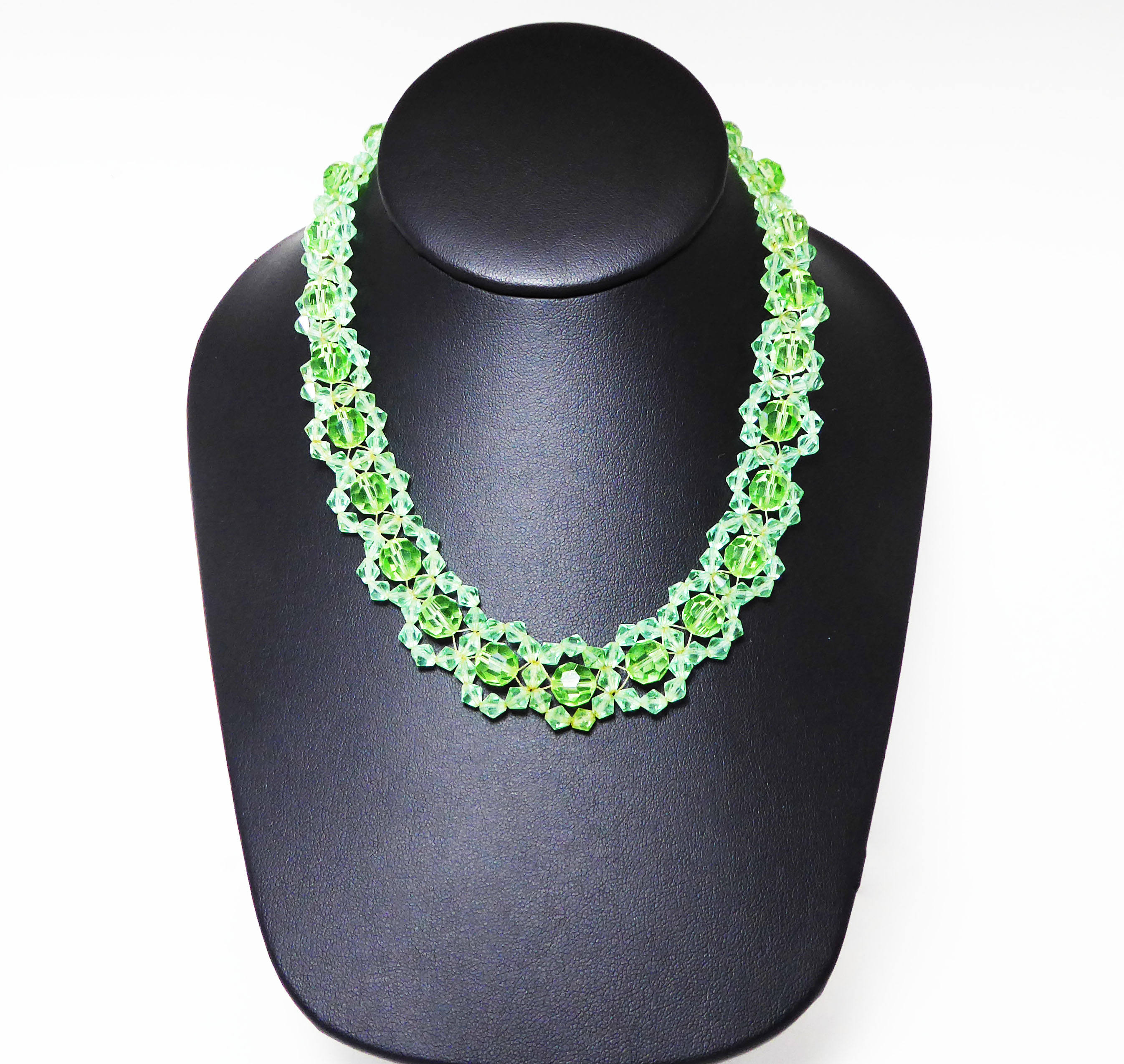 Green Glass Beads Necklace, Woven Crystal Glass Beaded