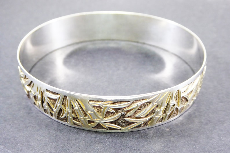 Sterling Silver Bangle Bracelet Bamboo Design 58 wide Tropical Asian Signed 925 Vintage 1970s 1980s BOHO Modern Jewelry gift for her