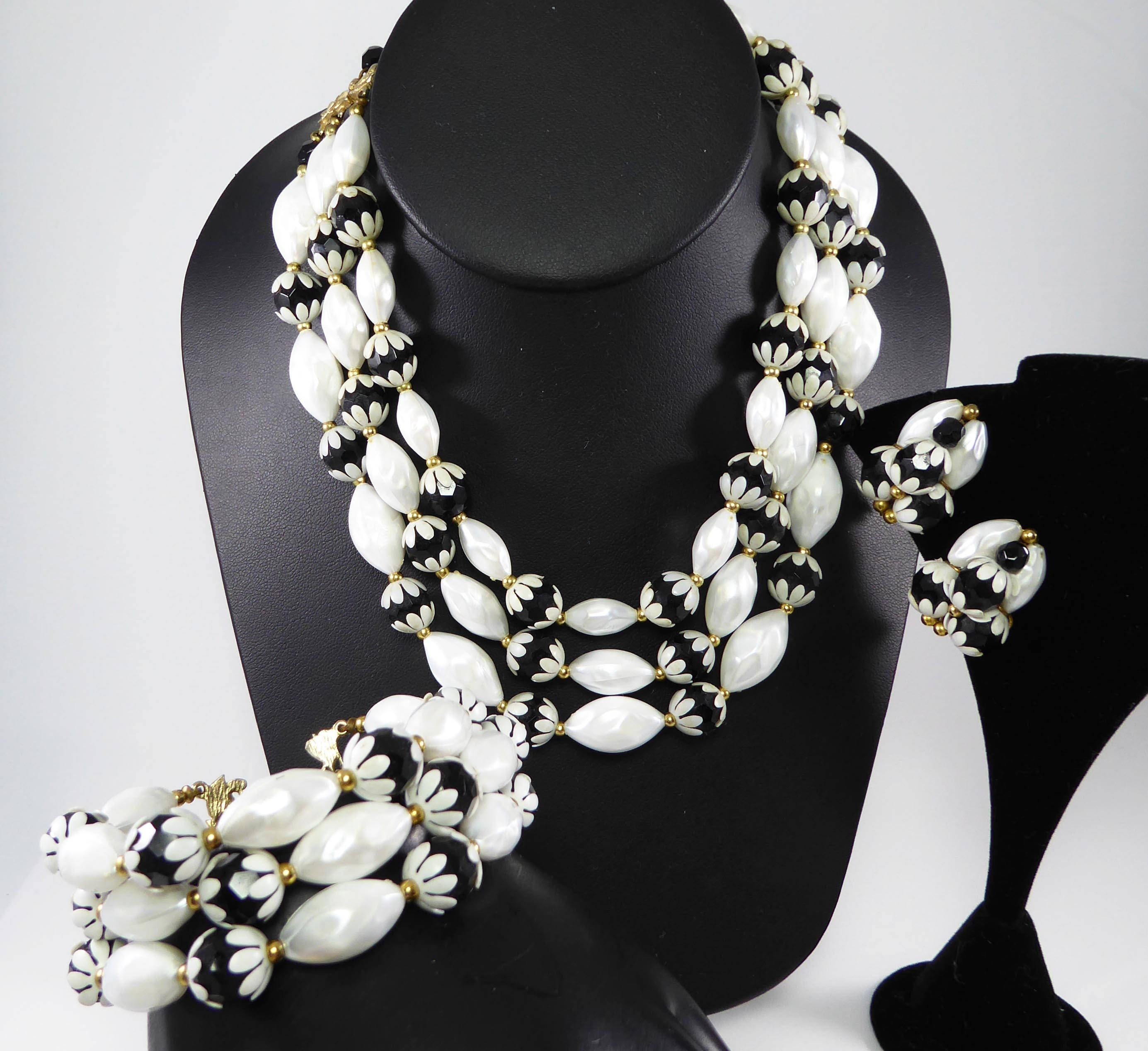 07f57a7424f Black and White Beaded Set, Multi Strand Necklace, Clip on Earrings ...
