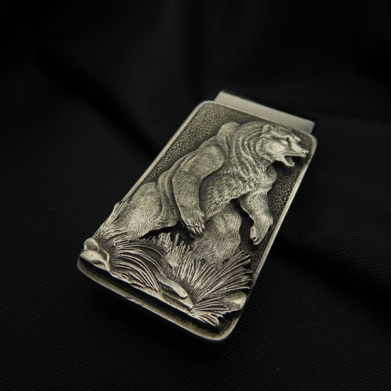 Black BEAR Money Clip Solid PEWTER w//Gift Box
