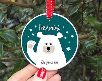 Personalised Polar Bear Hanging Ceramic Ornament Decoration