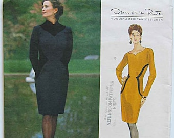 Oscar de la Renta Misses' Dress, Designer Vogue 1678 Sewing Pattern UNCUT Size 8-10-12