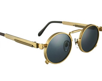 20722a3272 round sunglasses gold vintage Retro unisex Steampunk Goth spring on temples  polarized lens NOS 1990s