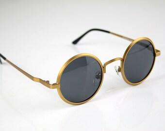 1f8f86eff8b round sunglasses gold vintage Retro unisex Steampunk Goth John Lennon style round  sunglasses Hippie polarized lens NOS 1990s