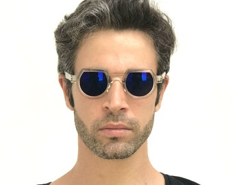 b5cd71e8508 round flat top sunglasses clear plastic frame blue mirror lens retro Goth  Steampunk Hi Tek Junior