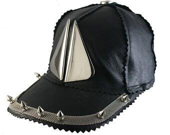 28b1accb23e3 unisex black leather baseball cap Goth Steampunk silver metal spikes wings Hip  Hop DJ rapper MC locker unusual unique statement head wear