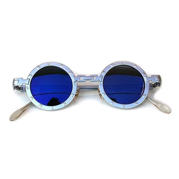 0ca2af6c7f4 round metal sunglasses silver blue mirror polarized lens