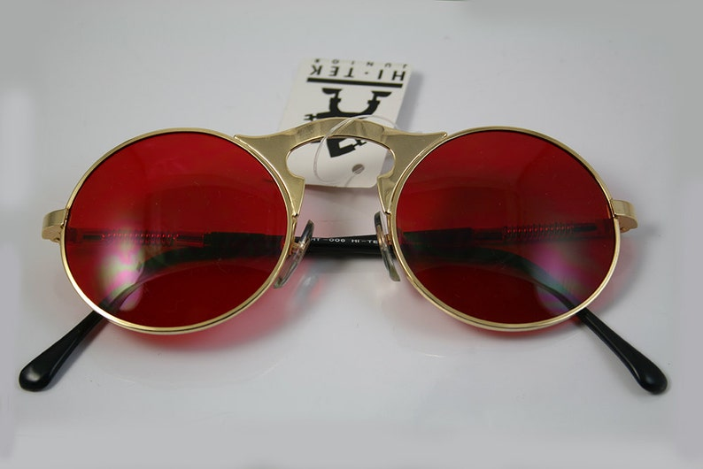 12b2c9dbea678c Ronde zonnebril John Lennon stijl gouden metalen frame Rode