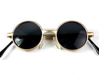 Vintage Round Steampunk sunglasses small round gold sunglasses  Retro Victorian sunglasses eye glasses spectacles Hi Tek Ozzy Osbourne style