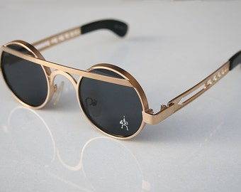 Hi Tek vintage gold round silver metal sunglasses Steampunk style  unusual