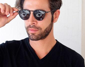 NOS 1980s vintage round retro sunglasses plastic and metal frame mens sunglasses black round sunglasses Hi Tek Junior