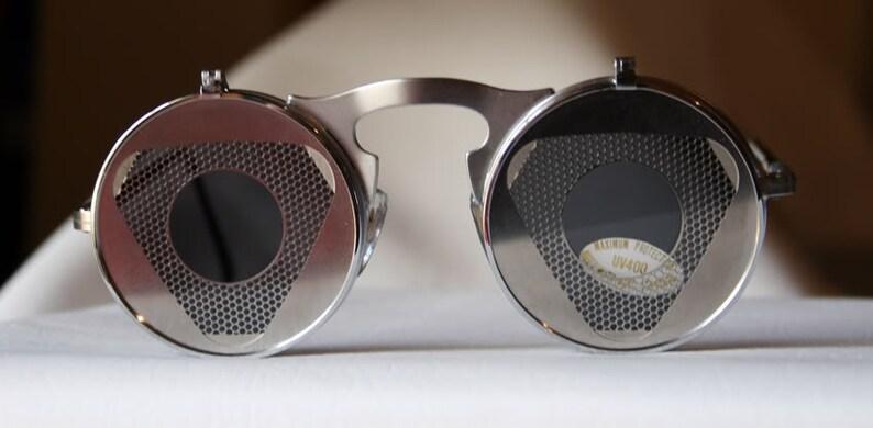 8f7fc302336 round flip up sunglasses flip ups silver metal Steampunk