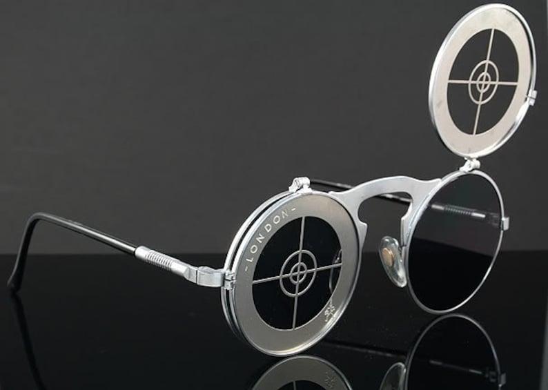 bb4e4e83b38 Round sunglasses Steampunk sunglasses flip ups vintage silver