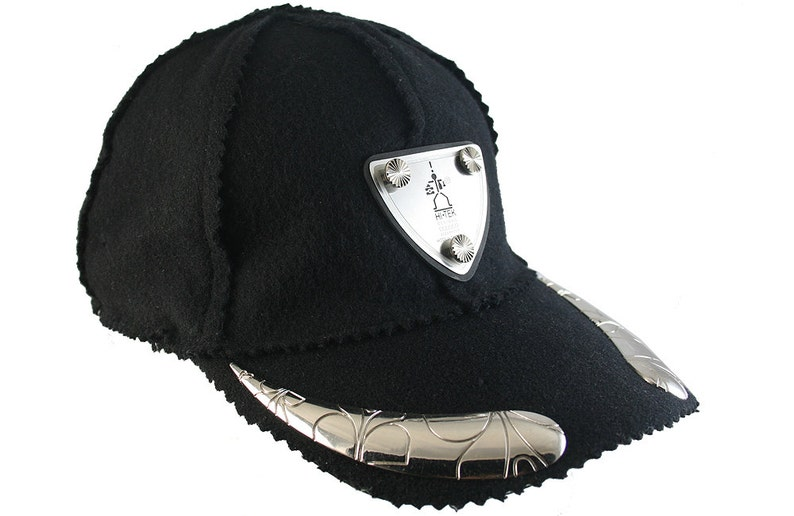 b612bff1b243c Unisex black wool baseball cap with metal horns unusual unique