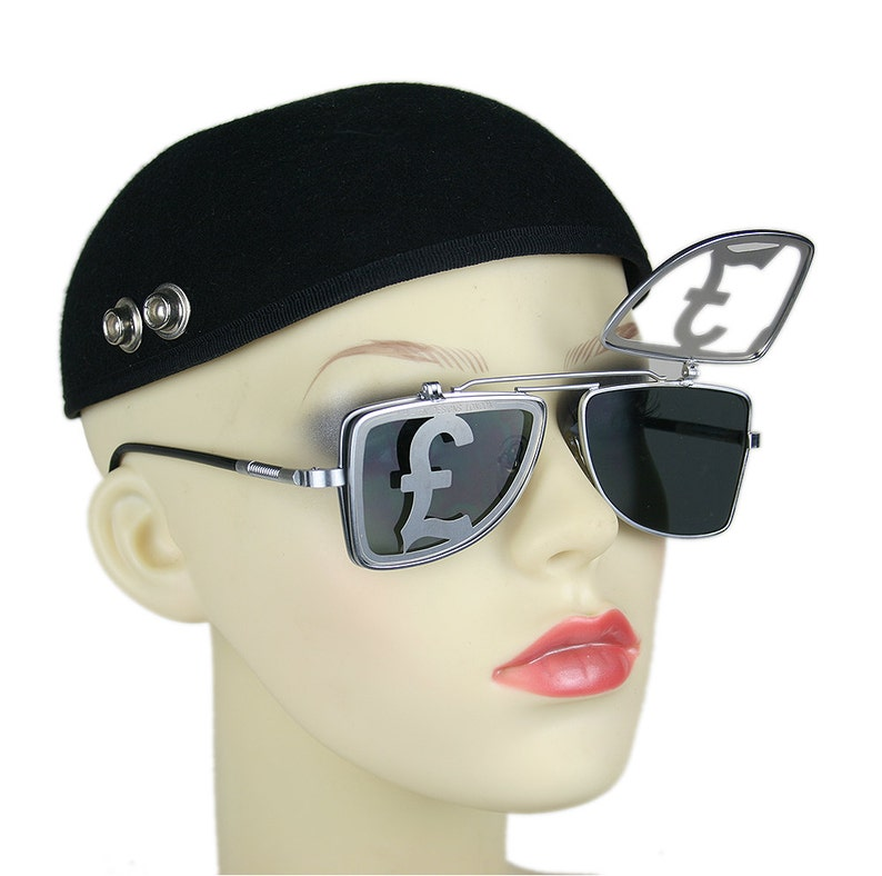805b229093f Rectangular vintage retro metal flip up sunglasses steampunk